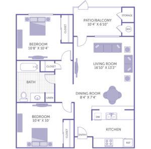 """2 bed 1 bath floor plan, Kitchen, Dining room 8' 4"""" x 7' 4"""", Living Room 16' 10"""" x 13' 2"""", Bedroom 10' 8"""" x 10' 4"""", Bedroom 10' 4"""" x 10', Patio/Balcony 10' 4"""" x 6' 10"""" and storage, 3 closets, 1 linen closet"""