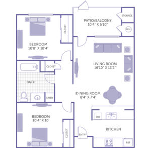 "2 bed 1 bath floor plan, bedroom 10'8"" x 10' 4"", bedroom 10' 4"" x 10', Kitchen, Dining room 8' 4"" x 7' 4"", Living Room 16'10"" x 13' 2"", Patio Balcony 10' 4"" x 6' 10"" and storage, 3 closets, 1 linen closet"